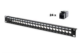 Patchpanel 24 port black with 24 coupler RJ45/RJ45 Keystone patchpanel type black
