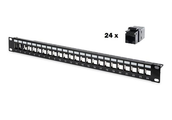 Patchpanel 24 Port mit 24 Adapter RJ45/RJ45