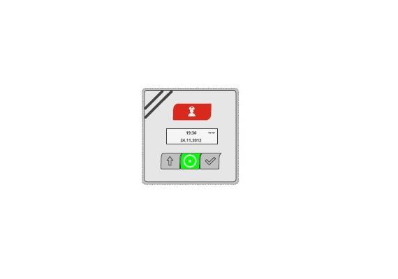 Ruf- und Abstelltaster Kombination mit Display
